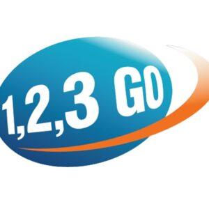 Das Logo des Wettbewerbs ist zu sehen. Eine Blaue Kugel auf der 1,2,3 Go steht mit einem orangenem Strich.