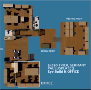 Ein 3D Modell von unserem Büro. Es besteht aus 3 Räumen.