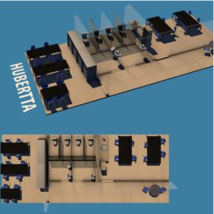Ein 3D Modell der Hubertta, ein großer Büroraum mit mehreren Arbeitsplätzen.