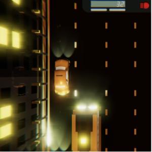 Ein Bild aus dem Spiel ist zu sehen, eine Straße von oben auf der ein gelbes Taxi und ein gelber Bus fahren.