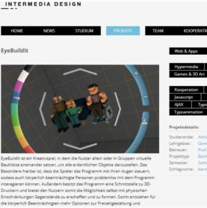 Ein Artikelausschnitt mit einem Bild des Eye Build It Creator Interface.