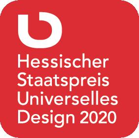 Das Logo des Wettbewerbs ist zu sehen. Ein Rotes Quadrat mit abgerundeten Ecken auf dem Hessischer Staatspreis Universelles Design 2020 steht.