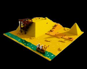 Eine Pyramide aus Voxeln.