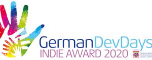 Das Logo des Wettbewerbs ist zu sehen. Eine Bunte Hand mit dem Titel German Dev Days Indie Award 2020.