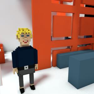 Auf dem Bild steht Adrian Wegener in Pixelform auf dem Messestand.