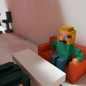 Ein Pixelkind sitzt auf dem Sofa.