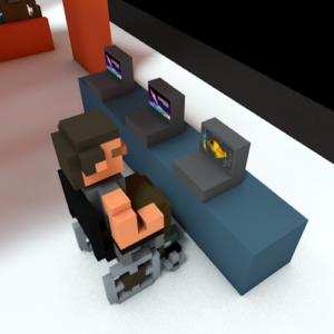 Eine Pixelperson im Rollstuhl probiert den Eye Build It Creator aus.